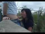 Brunette babe blowjob outdoor